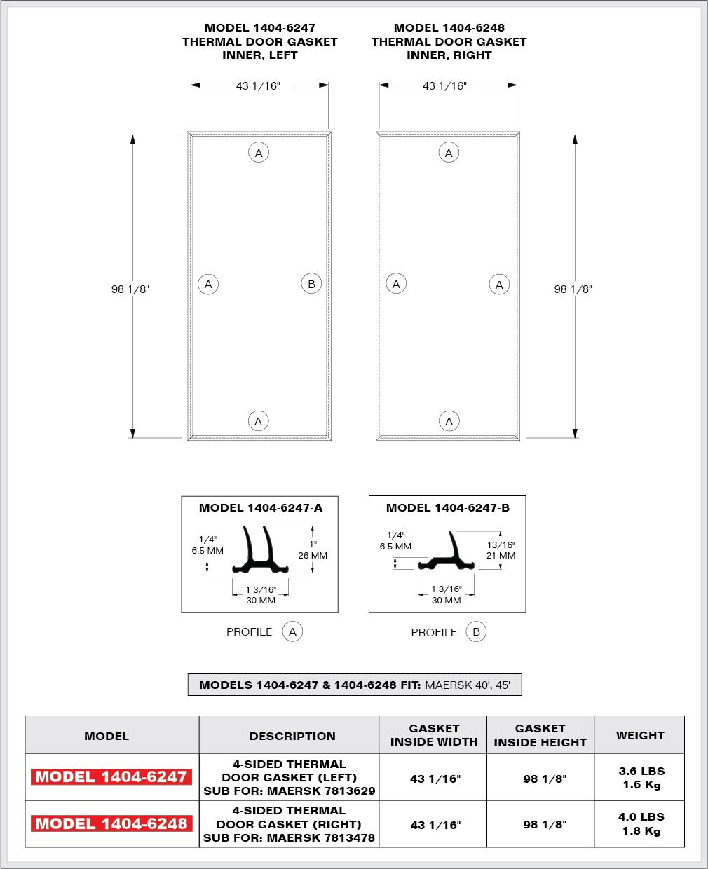 ... Thermal Door Gasket right all double lip 40\u0027 HC ...